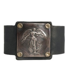 Winged Victory Angel Bronze and Leather Cuff Bracelet