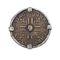Diamond King Lewis Statement Mixed Metal Skull Coin Ring