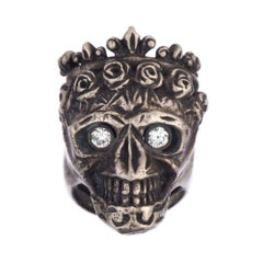 Diamond Momento Mori Statement Skull King Ring