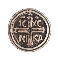 In the Name of the Father Statement Cross Coin Ring