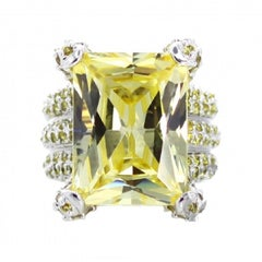 Fine Sterling Silver Rhodium Plating Yellow Stones Cocktail Ring by Feri