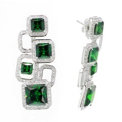 Siledium Silver White and Emerald Color Earrings by Feri