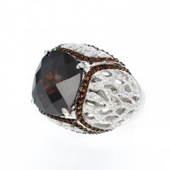 Fine Silver Brown Stone Cocktail Ring by Feri