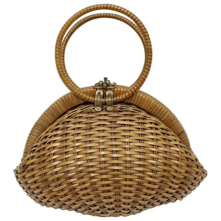 Basket Vintage Rattan Handbag 1950s Italy