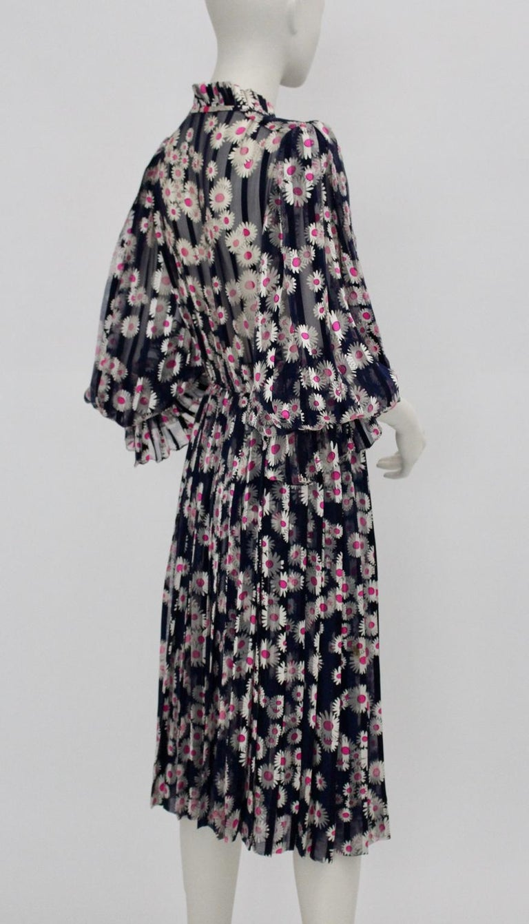 Blue Pleated Vintage Silk Day Dress With Pink Flowers 1980s For Sale