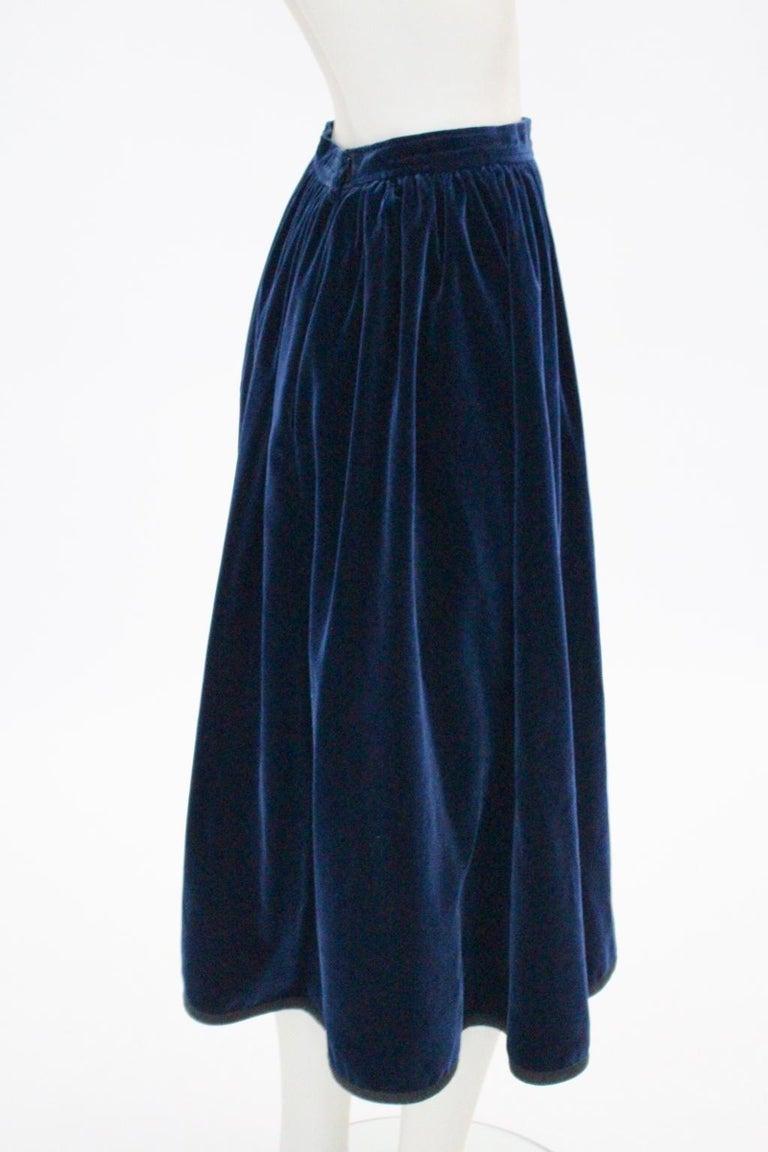 a33233eee Blue Velvet Pleated Vintage Skirt by Yves Saint Laurent Rive Gauche For  Sale 4