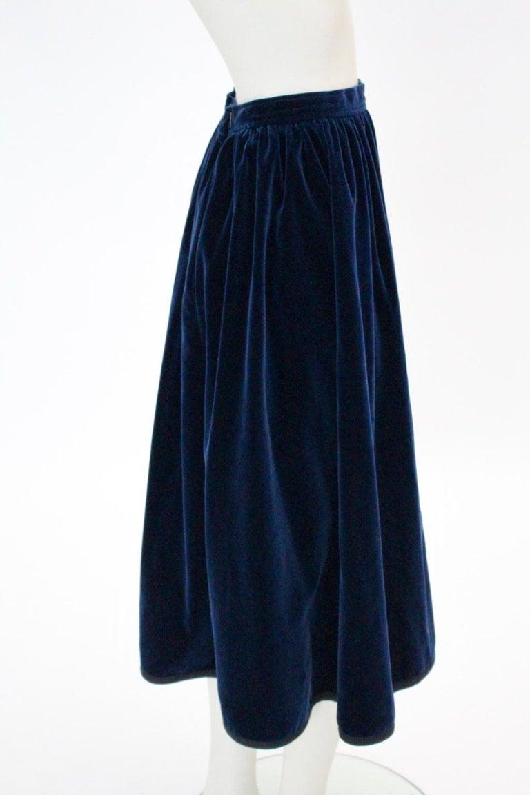 2e4c15677 Blue Velvet Pleated Vintage Skirt by Yves Saint Laurent Rive Gauche For  Sale 5