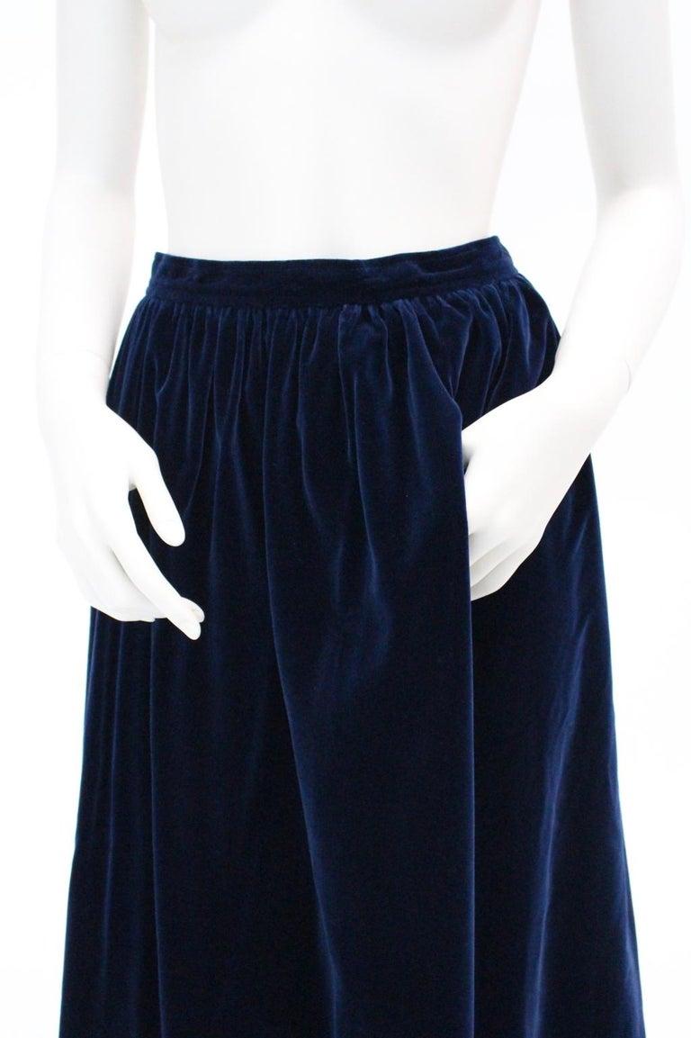 61a970f84 Blue Velvet Pleated Vintage Skirt by Yves Saint Laurent Rive Gauche For  Sale 8