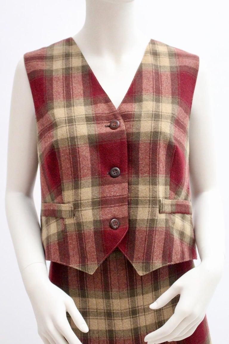 Brown Wool Vintage Tartan Set Skirt and Gilet 1980s For Sale