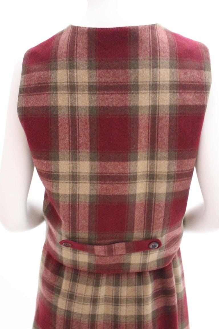 Wool Vintage Tartan Set Skirt and Gilet 1980s For Sale 1
