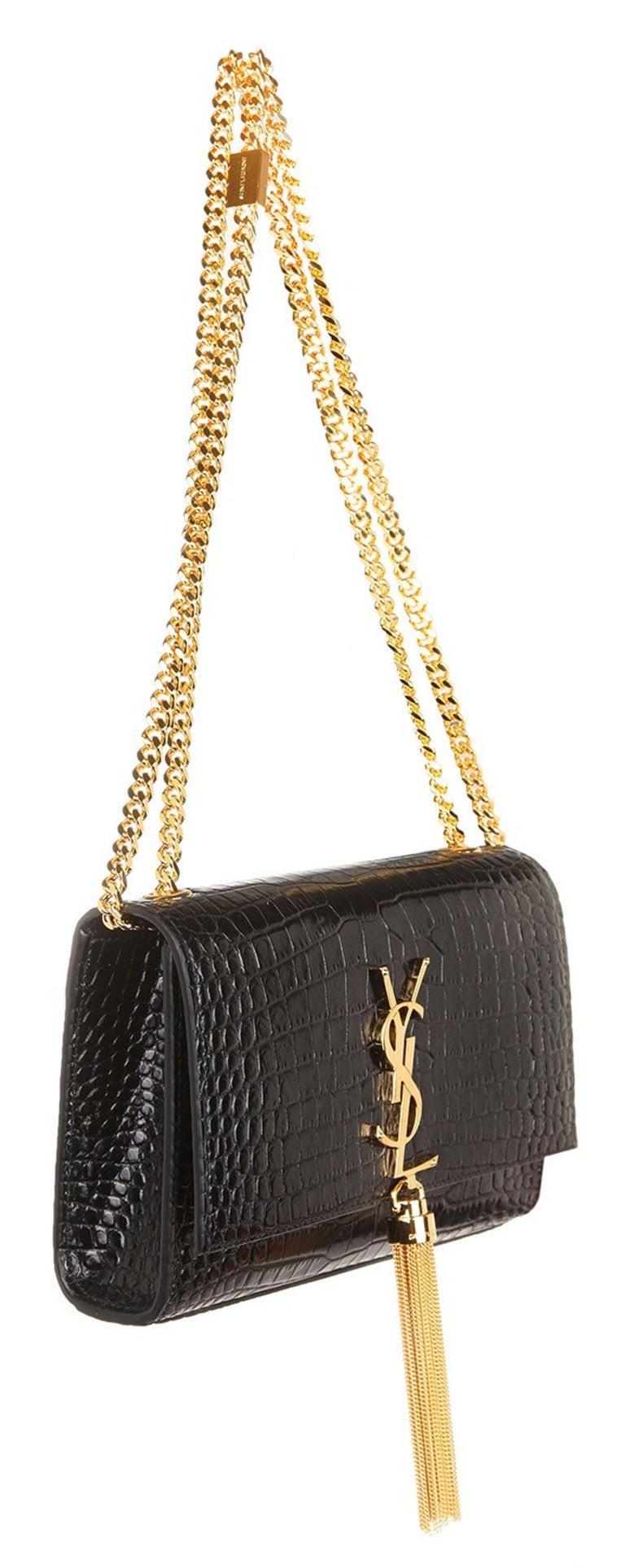 Ysl Saint Laurent Croc Embossed Small Kate Bag With Tassel