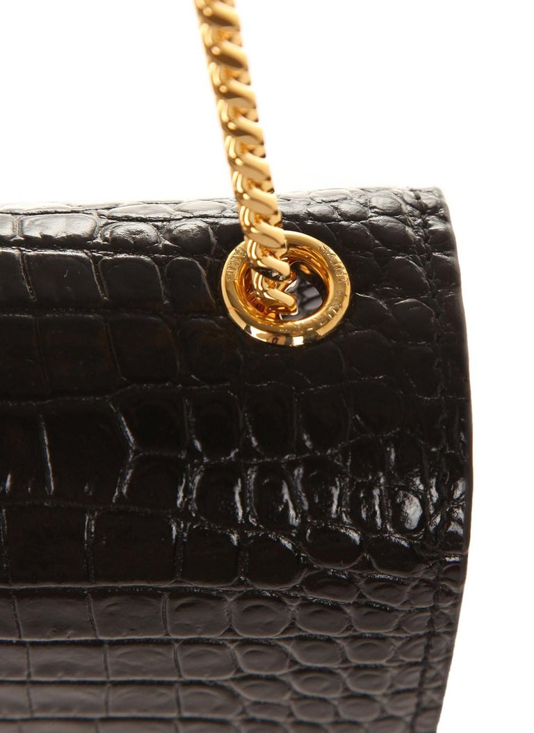 Ysl Saint Laurent Croc Embossed Small Kate Bag With Tassel