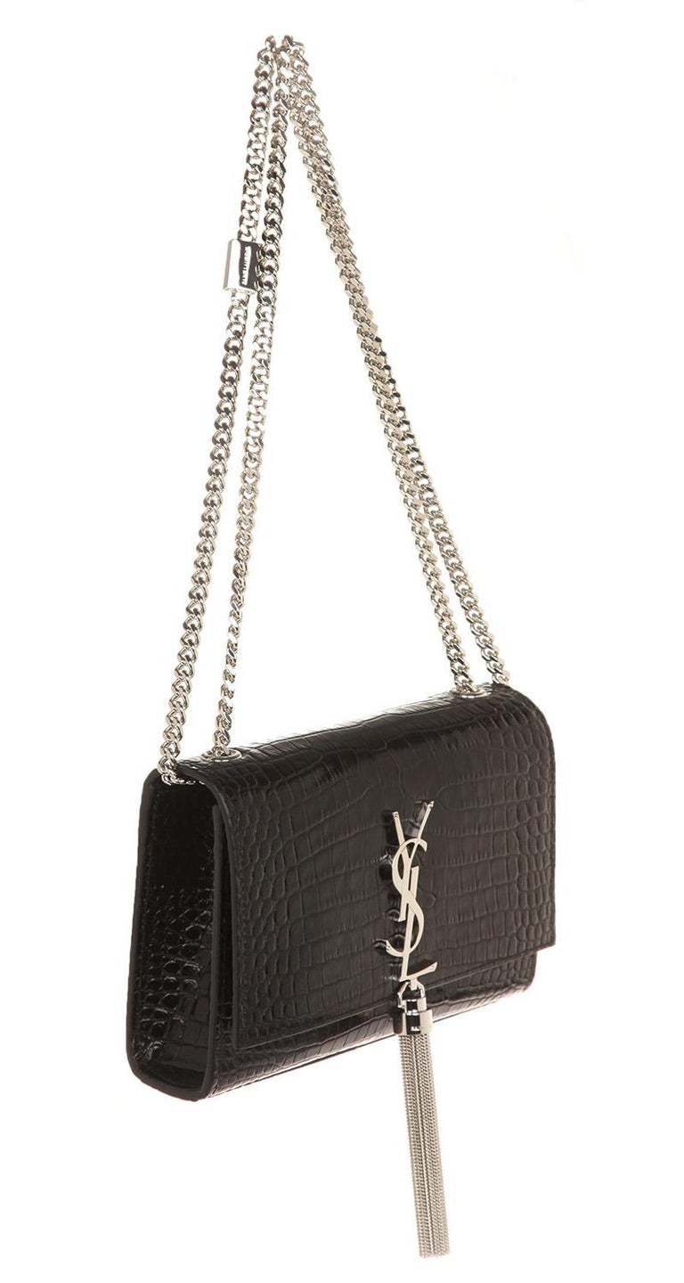 9b6c7aec4b99 Black YSL Saint Laurent Small Croc-embossed bag Kate with tassel For Sale