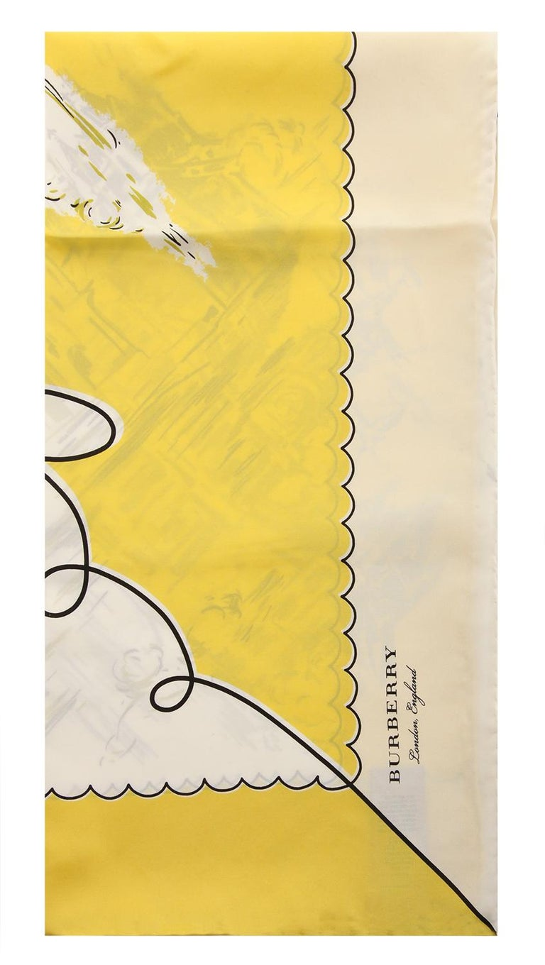 Item number 40654341 Measurements length: 90 cm, width: 90 cm Color yellow-cream-black Material 100% silk Washing Specialist dry clean Weight in grams approx. 50 Features London Print Silk Square Scarf with Hand-rolled edges, Printed Burberry