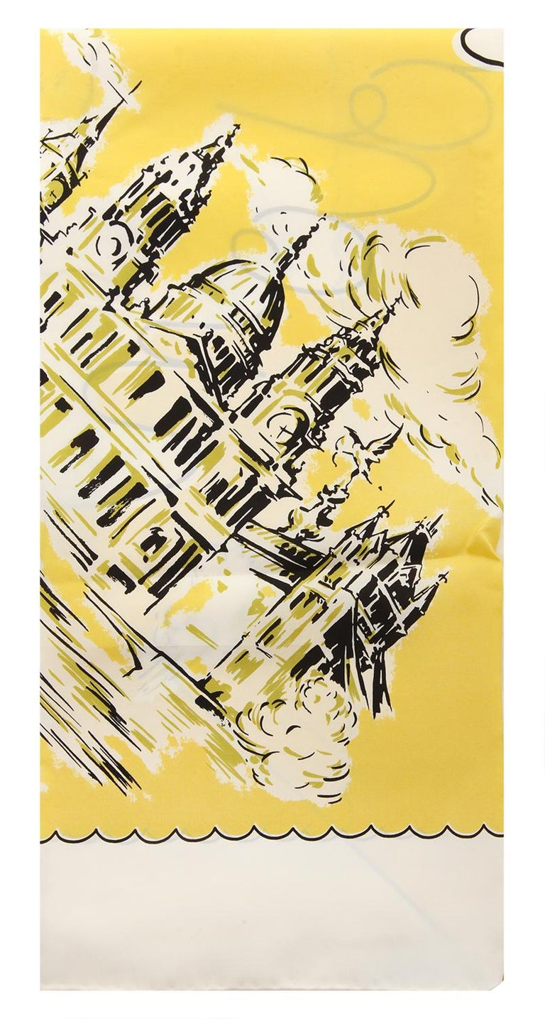 Beige Burberry Women Square Scarf bright yellow LONDON LANDSCAPE SILK SQUARE 40654341 For Sale