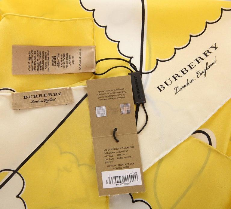 Women's Burberry Women Square Scarf bright yellow LONDON LANDSCAPE SILK SQUARE 40654341 For Sale