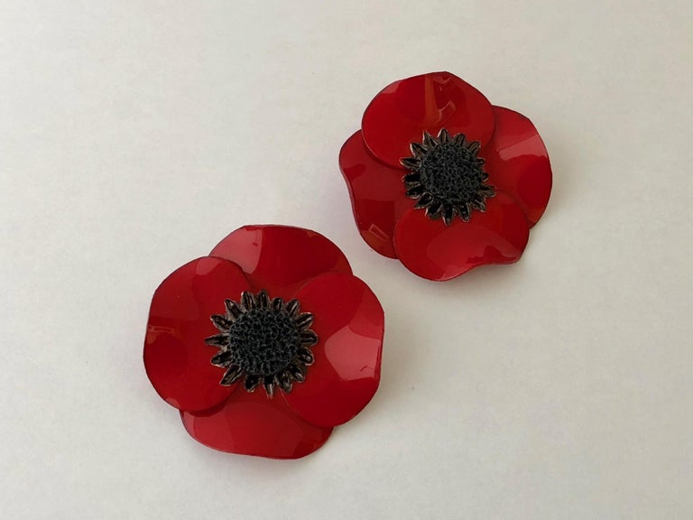 Dramatic french red poppy statement earrings for sale at 1stdibs contemporary dramatic french red poppy statement earrings for sale mightylinksfo