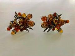 Vintage French Brutalist Honey AB Earrings