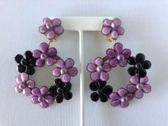 French Purple Flower Statement Earrings by Cilea Paris