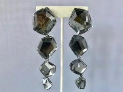 Gunmetal Gray Rock Crystal Statement Earrings by Herve Van der Straeten