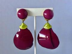 Cilea Paris Purple leaf Statement Earrings