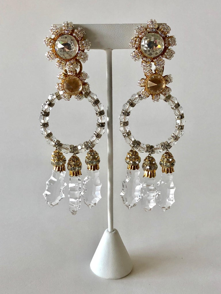 Important Vintage Designer Crystal Statement Earrings For Sale 1
