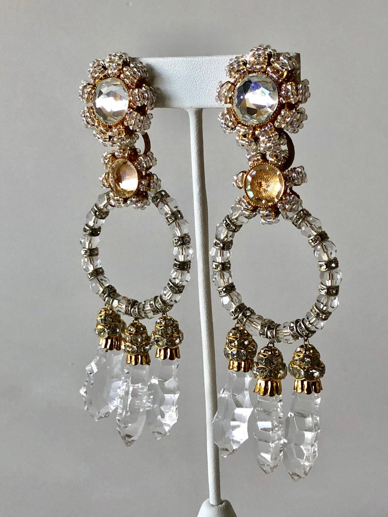 Important Vintage Designer Crystal Statement Earrings For Sale 2