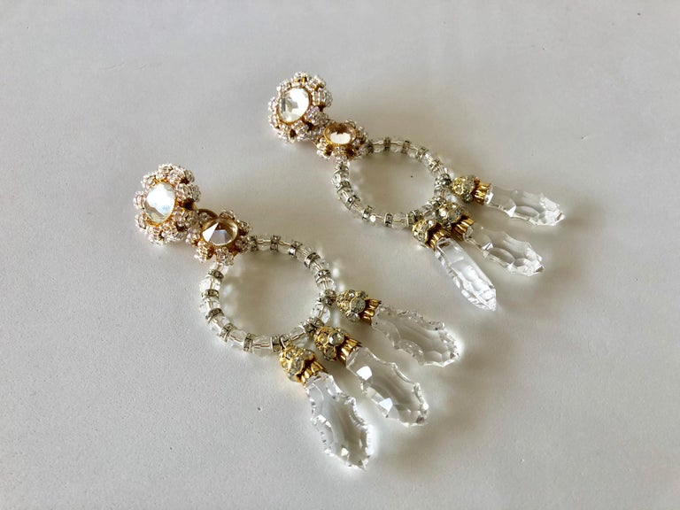 Important Vintage Designer Crystal Statement Earrings For Sale 4
