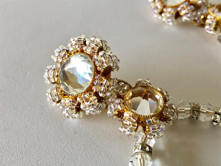 Important Vintage Designer Crystal Statement Earrings For Sale 6