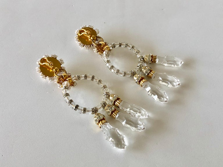 Important Vintage Designer Crystal Statement Earrings For Sale 7