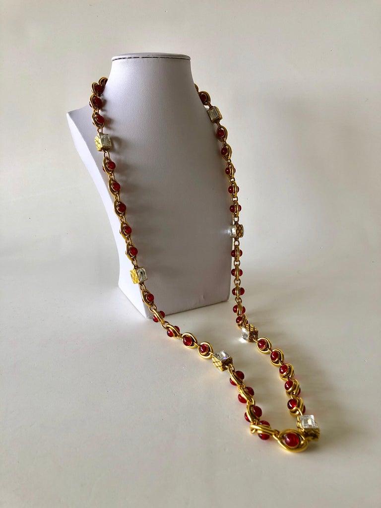 Chanel 1980's Byzantine Diamanté Gripoix Statement Necklace  2