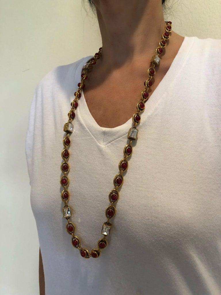 Chanel 1980's Byzantine Diamanté Gripoix Statement Necklace  3