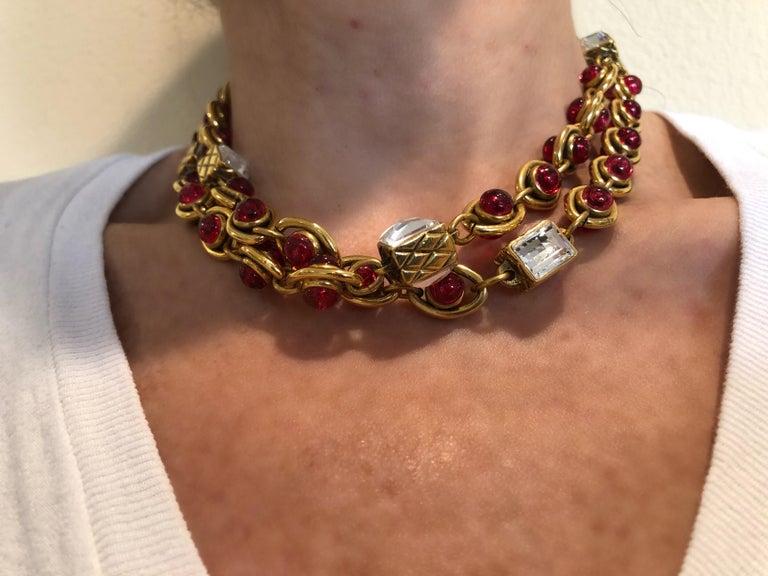 Chanel 1980's Byzantine Diamanté Gripoix Statement Necklace  4