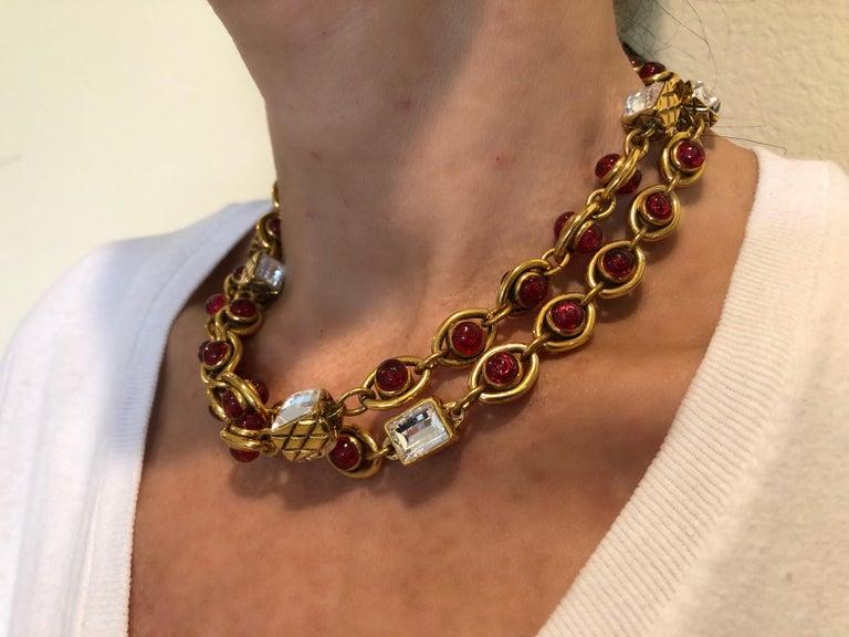 Chanel 1980's Byzantine Diamanté Gripoix Statement Necklace  5