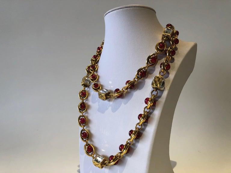 Chanel 1980's Byzantine Diamanté Gripoix Statement Necklace  6