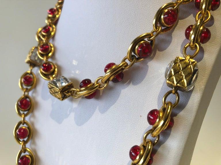 Chanel 1980's Byzantine Diamanté Gripoix Statement Necklace  7