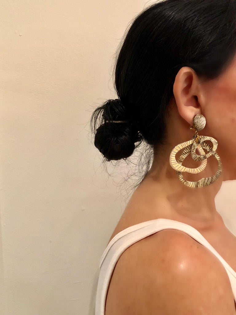Contemporary Architectural Taupe Leaf-like Statement Earrings  In New Condition For Sale In Palm Springs, CA