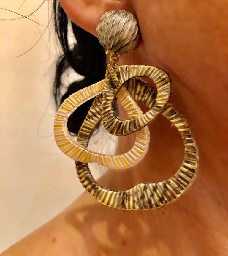 Contemporary Architectural Taupe Leaf-like Statement Earrings  For Sale 1