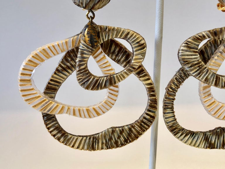 Contemporary Architectural Taupe Leaf-like Statement Earrings  For Sale 4