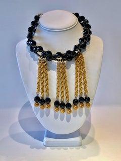 Vintage Christian Dior Fringe Bib Statement Necklace