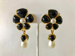 Vintage Chanel Black Pearl Flower Statement Earrings