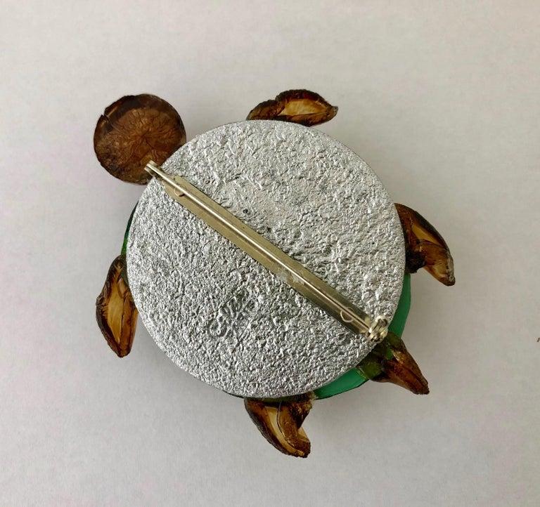 Women's or Men's Cilea Paris Large Turtle Pin For Sale