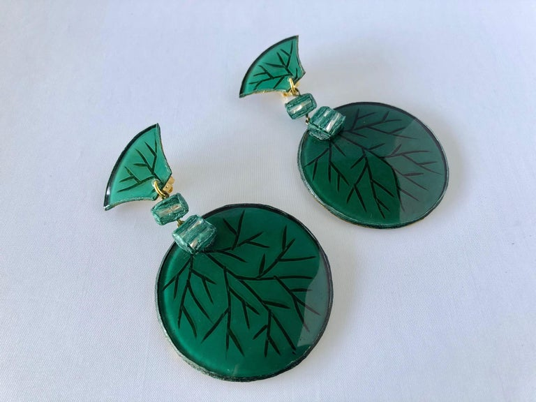 Women's Contemporary Artisan Green Circle Statement Earrings For Sale