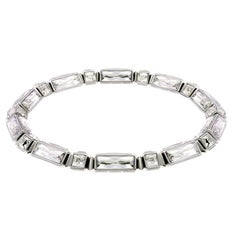 Simon Harrison Hannah Stainless Steel Silver Shade Crystal Baguette Necklace