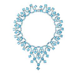 Simon Harrison Claudette Small Aquamarine Crystal Necklace