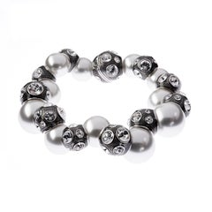 Simon Harrison Valent Pearl And Crystal Set Enamel Bead Bracelet