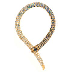 Simon Harrison Limited Edition Gold Blue Ombre Crystal Snake Necklace
