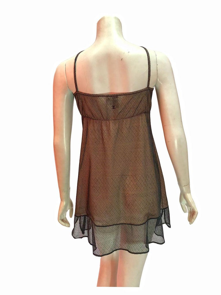 Brown Chanel Nude Slip Dress With Mesh Overlay For Sale