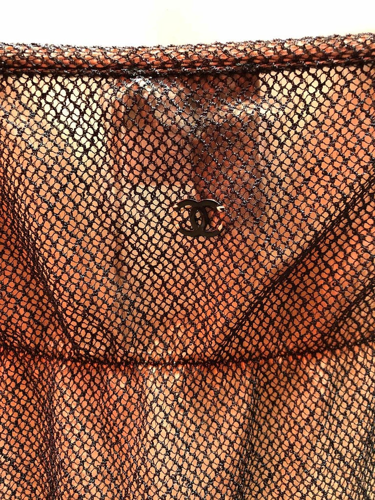 Chanel Nude Slip Dress With Mesh Overlay In Excellent Condition For Sale In Los Angeles, CA