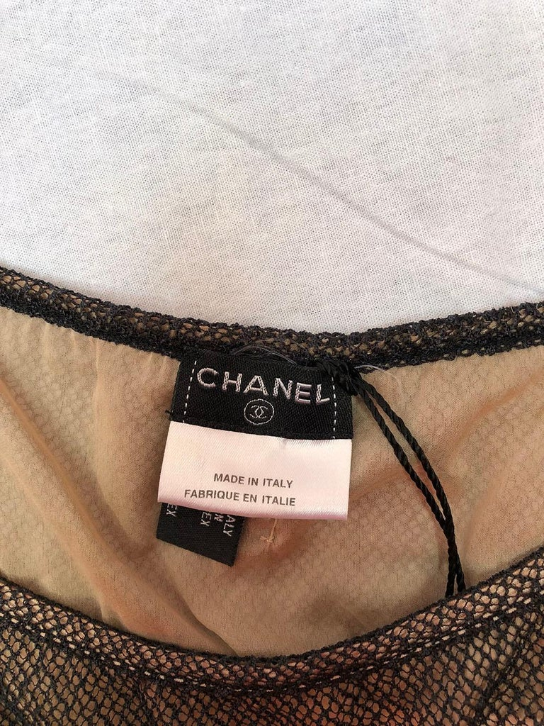 Women's Chanel Nude Slip Dress With Mesh Overlay For Sale